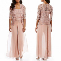 Wholesale mother groom dresses beach wedding resale online - Cheap Pink Mother Of The Bride Pant Suits With Jacket Chiffon Lace Beach Wedding Guest Mothers Groom Dress Formal Outfit Garment Wear
