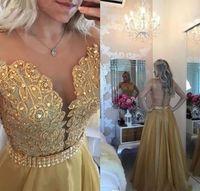ingrosso abiti da sera arabi per le donne-Sexy donne eleganti Gala Party Vestito lungo Plus Size arabo musulmano oro sera Prom Dresses Gown 2019