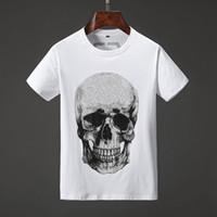 camisetas al por mayor-19SS Mens Designer T Shirts Múltiples cráneos Impresión de moda Anti-Shrink Quick Dry Mens Diseñador de lujo Ropa