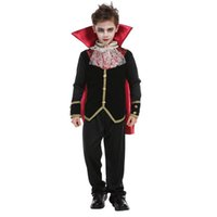 erkek çocuklar için karnaval kıyafetleri toptan satış-Çocuklar Çocuk Korku Gotik Boys Vampire Dracula Kostümleri Cadılar Bayramı Purim Karnavalı Rolü Korkunç Parti Giydir