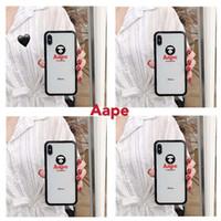 capas transparentes do iphone venda por atacado-Caso de telefone de luxo para iphone x xr xsmax 6/6 s 6 p / 6 spl 7/8 7 plus / 8 plus designer legal caso marca letras cor borda tampa traseira de vidro transparente