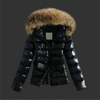 ingrosso giacche in pelle donna coreana-CALDO! Collo di pelliccia di procione invernale Giacca da donna in piumino corto di cotone piumino slim fit moda coreana