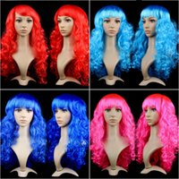 Wholesale cosplay long pink hair resale online - Hot Sale Women Anime Cosplay long Wigs Multicolor Synthetic Hair Wig Cosplay Costume ladies dress Deep Wave Wigs For Party club night
