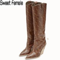 Wholesale big boots females for sale - Group buy Sweet Female Newest fashion high heel knee boots women wedges Straight boots brand Printing Martin big size