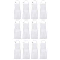 Wholesale white cook aprons for sale - Group buy 12x Surround Apron Kitchen Chef Apron with Pockets Adjustable Apron Apron Used for Cooking Serving White