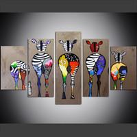 zebra yağı tuvali toptan satış-5 Parça Büyük Boy Tuval Duvar Sanatı Resimleri Yaratıcı Zebra Bum Hayvanlar Poster Sanat Baskı Yağlıboya Oturma Odası için