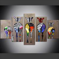 tela de óleo de zebra venda por atacado-5 Peça Grande Tamanho Da Arte Da Parede Da Lona Pictures Criativa Zebra Bum Animais Cartaz Art Print Pintura A Óleo para Sala de estar