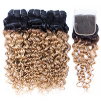 Wholesale honey blonde hair bundles for sale - Group buy Kiss hair B Ombre Honey Blonde Water Wave Human Hair Weave Bundles with Lace Closure Brazilian Virgin Hair