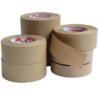 Wholesale tape kraft resale online - 2019 m Gummed Kraft Paper Tape Bundled Adhesive Paper Tapes Sealed Water Activated Carton Painting Sticker For Packaging Tools