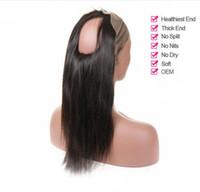 dantel kapakları bebek kılları toptan satış-360 Dantel Frontal Ön Koparıp Bebek Saç Ile Düz Perulu Remy Saç Siyah Kadınlar Için Insan Saç Closures