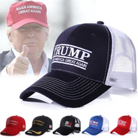 Wholesale trucker ball caps for sale - 2020 Trump Embroidery Ball Cap Make America Great Again Baseball Caps Trucker Casquette Mesh Visor Snapbacks Ponytail Hats MMA1726