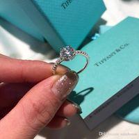 rhodium 925 ringe großhandel-luxus designer schmuck frauen 925 sterling silber ringe verlobungsring bague dame tif marke diamant anello original box