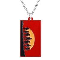 pingente de colar de talão vermelho venda por atacado-Jogo Red Dead Redemption 2 Colar Alloy Beads Cadeia Pingente De Metal Carta Projeto Chaveiro Chaveiro Homens Mulheres Jóias Fãs Presente
