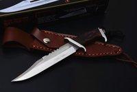 ingrosso piccolo coltello diritto-New Rambo III Straight Knife Coltello in legno 440C con lama di raso fissa Coltelli a lama fissa con fodero in pelle Signature Edition