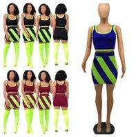 полосатые шорты оптовых-Женщины Color Match Лето Crop Tank + юбка Спортивный костюм без рукавов футболки + короткое платье 2 шт