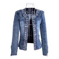 jaqueta feminina mais tamanho denim venda por atacado-Moda Feminina Diamantes Jaqueta Jaqueta jeans Ladies jaqueta Tops Magro Jeans Top plus size jaqueta chaqueta mujer
