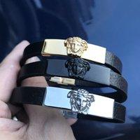 brazaletes de oro para mujeres al por mayor-3 colores oro plata negro pulseras de cinturón de diseñador de lujo encanto de gran marca estilo acero inoxidable Medusa punk pulsera joyería para mujeres hombres