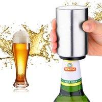 ingrosso magnete di birra-Magnetico apribottiglie automatiche per bottiglie di birra in acciaio inox magnete apribottiglie cucina bar accessoris vino può apri giocattolo