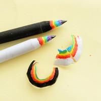 ingrosso pacchetto regalo matita-Confezione da 2 pezzi Moda Nero Bianco Arcobaleno Matita in legno Scrittura creativa Studente Disegno Regalo Scuola Premio Forniture Set di cancelleria
