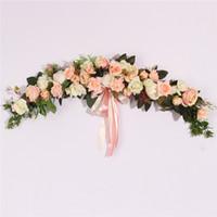 yılbaşı çelenkleri toptan satış-Gül Şakayık Yapay Çiçekler Garland Avrupa Lintel Duvar Dekoratif Çiçek Kapı Çelenk Düğün Ev Noel Dekorasyon için