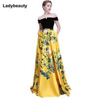 neues muster-partykleid großhandel-2018 neue Blumenmuster Abendkleid Lange Vintage Prom Party Kleider Abendkleid Frauen Formelle Anlässe