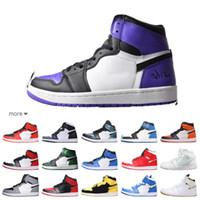 горячая обувь продавца оптовых-Горячий продавец новый 1с высшего качества 1 Court Purple AJ мужчины женщины кроссовки черные баскетбольные кроссовки с размером логотипа: 5.5-12