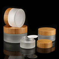 kosmetische creme innere kappe großhandel-Bambuskappe Milchglas-Cremeflaschen Runde Kosmetikdosen Handgesichtscreme Flasche 15g-30g-50g Dose mit PP-Innenverkleidung
