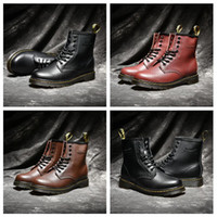 alto tornozelo botas cordões para as mulheres venda por atacado-Alta qualidade UK clássico 1460 botas Martin botas de neve Inverno Preto Brown vinho tinto Mulheres Homens Bottes Fashion Designer Shoes Tamanho 35-44