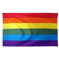Wholesale party supplies banners resale online - Rainbow Banner Flags x150cm Lesbian Gay Pride Polyester LGBT Flag Banner Flags Party Supplies Rainbow Flag CCA11852