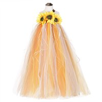 ayak bileği uzunluğu tutu toptan satış-Cadılar bayramı Korkuluk Kostüm Kızlar için Ayçiçeği Elbise Ayak Bileği Uzunluk Kabak Şükran Karnaval Tutu Elbise Abiye Çocuk