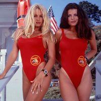trajes de color rojo más mujeres de talla al por mayor-Bfustyle American Baywatch El Mismo Traje de Baño de Una Pieza Mujer Fiesta Sexy Traje de Baño Rojo Bather Plus Size traje de baño SH190702
