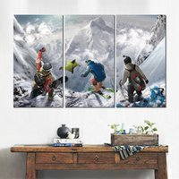 Wholesale modern fashion games for sale - Group buy 3 sets canvas print modern pictures steep extreme sport game wall art painting fine art for home decoration