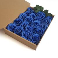 wedding car decorations achat en gros de-20 Pcs Disponible Fleur Bouquet De Mariage Artificielle Rose De Soie Faux Fleur PE Mousse Rose Voiture De Mariage Décor De Mariage Décorations Maison