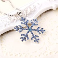 Wholesale frozen jewelry resale online - 2019 New Fashion Jewelry Frozen Snowflake Shiny Rhinestone Pendant Chain Necklace Christmas Gift Manufacturer Directly