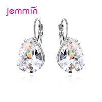 Wholesale korean silver jewelry brand for sale - Group buy Brand Concise Women Sterling Silver Geometric Cubic Zirconia Hoop Earrings Korean Jewelry Statement Piercied Ear Rings