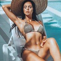 ingrosso bikini adolescenti-VIKINII Bikini in cristallo argento 2019 Costumi da bagno sexy con cavezza Donna Costumi da bagno con strass Lusso diamante Costume da bagno donna Bikini