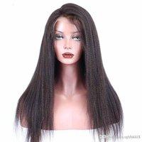 yaki peluca de encaje remy recta al por mayor-Pelucas de cabello humano de encaje completo de 180% de densidad para mujeres Peluca recta brasileña Remy Yaki Pre arrancada con cabello de bebé