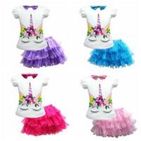 Wholesale kids clothing sets online - Kids Unicorn Two Pieces Set Short Sleeve T shirt Tutu Skirt Girls Baby Princess Dress Clothing Set sets OOA6335
