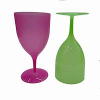 copa transparente al por mayor-De plástico de colores copa de vino De pie Copas de plástico de alta Copa del pie cóctel puro taza transparente vino tinto Copa MMA1978-6