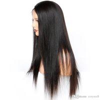 você está se separando perucas de cabelo humano venda por atacado-Parte dianteira do laço Perucas de Cabelo Humano Reta Malaio Peruca Frontal Pré Arrancado U Parte Não Remy Peruca de Cor Natural ujibg