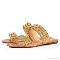 sandales plates rouges strass achat en gros de-Sandales plates pour femmes, chaussures rouges, sandales, style Myriadiam, style luxueux, talons de marques luxueuses + talons strass dorés à pointes avec boîte