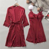 uzun elbise iç çamaşırı toptan satış-XXXL Sexy Lingerie Kimono V Yaka Uzun Ipek kadın Tunik Ile Set Şeffaf Elbise Hollow Dantel Babydoll Kazak Pijama Camiş