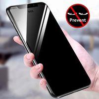 pantalla completa privacidad vidrio templado al por mayor-5D Privacy Anti-Spy Full Cover Protector de pantalla de cristal templado para iPhone Xs Max XR X 7 8 6 S Plus Anti-shatter película protectora