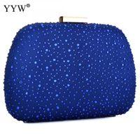 rebites de sacos azuis venda por atacado-Strass Rebite Saco de Noite Mulheres Moda Azul Com Zíper Crossbody Bag Embreagens Cadeia Feminina Bolsa de Ombro Apuramento Embreagem J190630