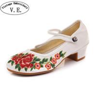 d4e8dfde843 Wholesale clear block heels for sale - Designer Dress Shoes Vintage  Embroidery Women Pump Retro Ethnic