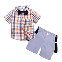 neues hübsches baby großhandel-Kinderbekleidung Sommer neue männliche Baby Gentleman Fliege Anzug junge hübsche hübsche Altersabnutzung Kinderkleidung Baby Kinderkleidung kostenlos