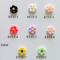 harz sonnenblumen großhandel-3D 30 teile / beutel Harz 8 MM Verschiedene Farben Sonnenblume Dekoration Nail art Dekorationen Nail art Harz Deco