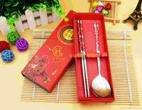 düğün kaşıkları çubukları toptan satış-düğün için kırmızı hediye kutusu ile DLM2 Çin Tarzı Chopsticks Kaşık Yaratıcı Mutfak Çevre Kaşık Chopsticks hediye Y269 iyilik