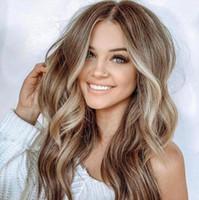 grande perruque brune frisée achat en gros de-grande vague Lin Brown longue usine de coiffures de couleurs mélangées cheveux bouclés cheveux vente directe européens et américains