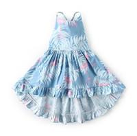 Wholesale easter clothing for girls resale online - Spring and Summer New Kids Dresses for Girls Kids Suspender Flamingo Floral Princess Mermaid Dress Easter Day Kids Clothes